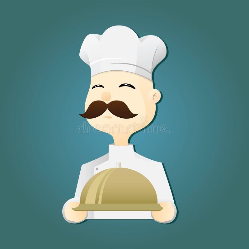Cozinheiro chefe Holding Food Tray ilustração stock