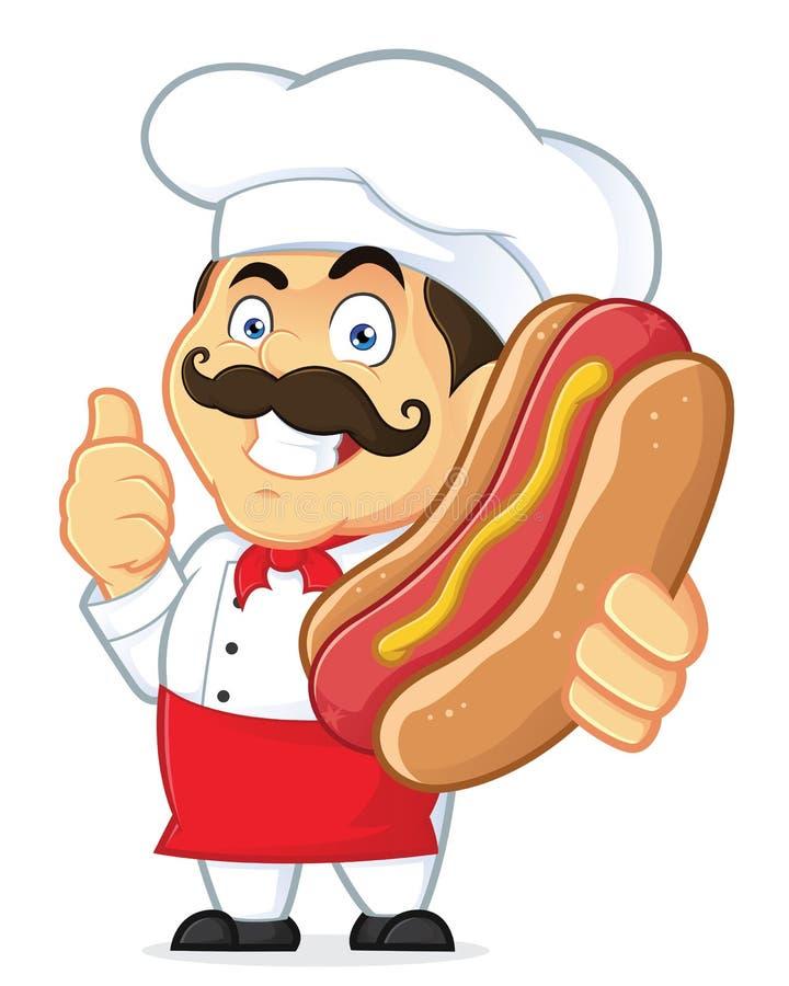 Cozinheiro chefe Holding Hot Dog ilustração stock