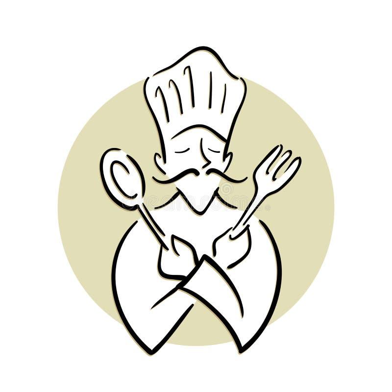 Cozinheiro chefe Holding Spoon e forquilha ilustração royalty free