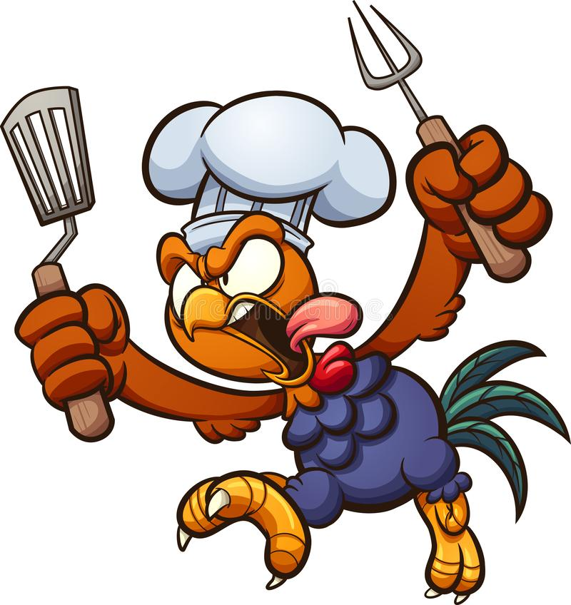 Cozinheiro chefe irritado do galo que corre e que grita ilustração stock