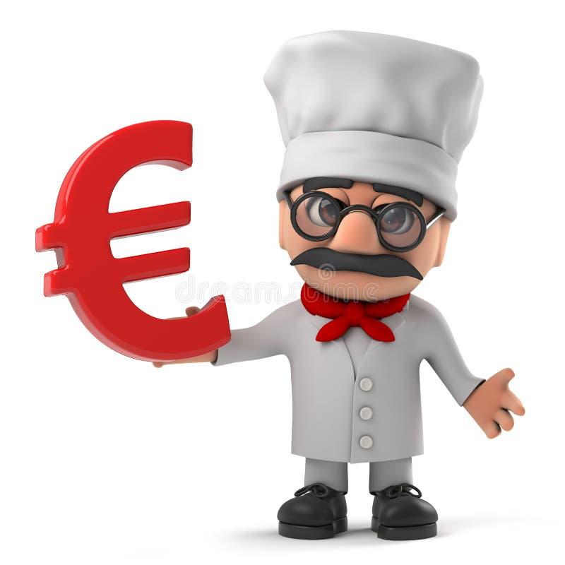 cozinheiro chefe italiano da pizza dos desenhos animados 3d engraçados que guarda um símbolo de moeda do Euro ilustração royalty free