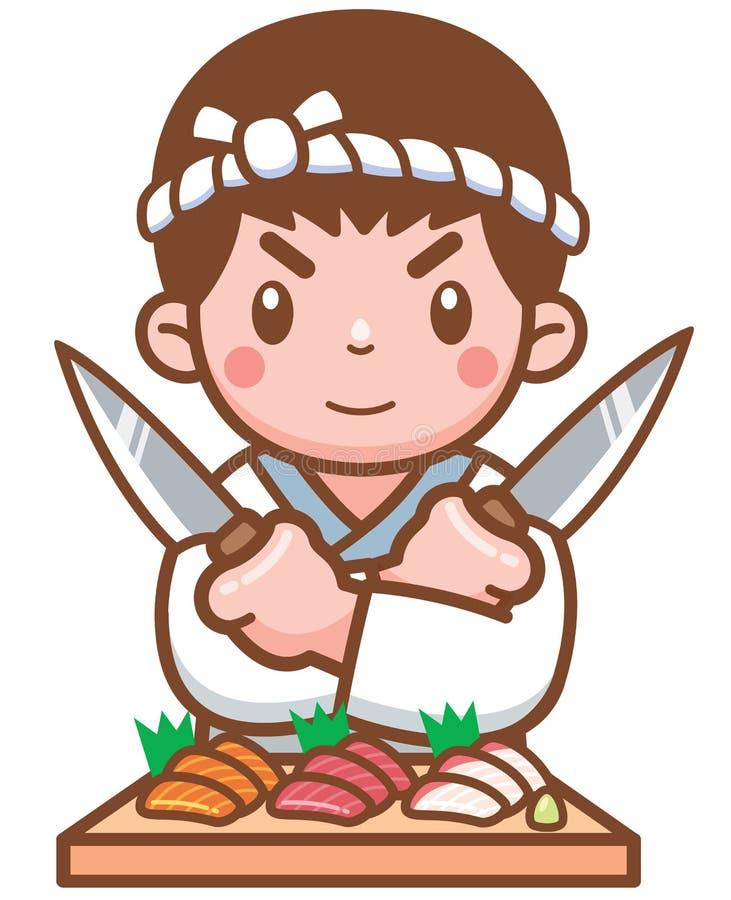 Cozinheiro chefe japonês ilustração royalty free