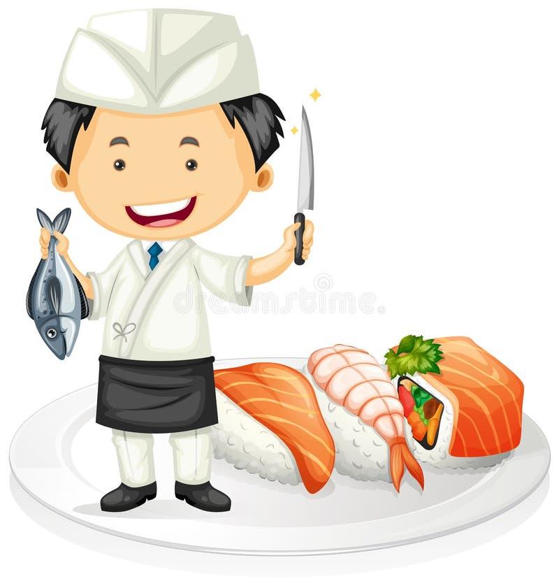 Cozinheiro chefe japonês que cozinha o sushi ilustração stock