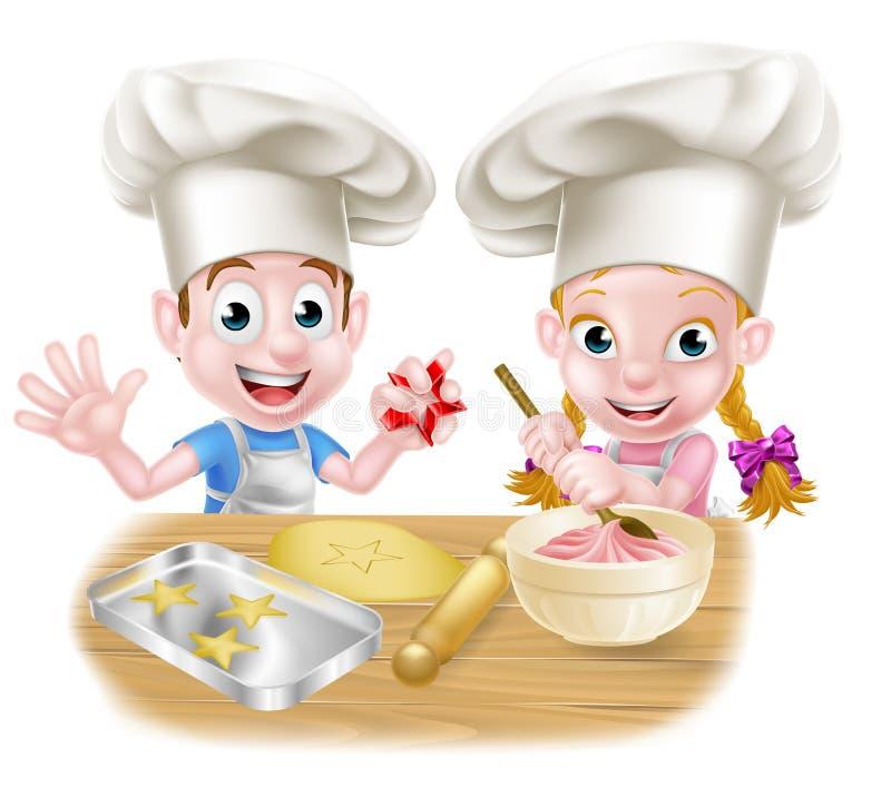 Cozinheiro chefe Kids Baking dos desenhos animados ilustração royalty free