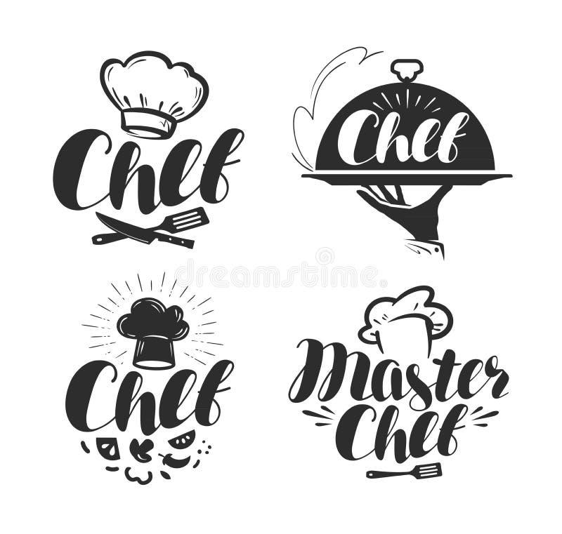 Cozinheiro chefe, logotipo do cozinheiro ou etiqueta ilustração para o projeto ilustração stock