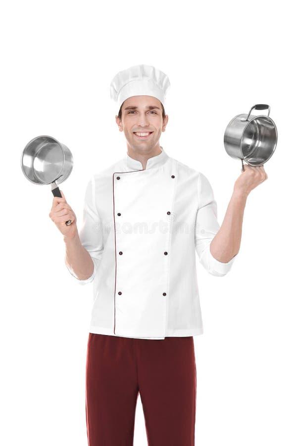 Cozinheiro chefe masculino com bandeja do molho e stewpan novos, isolado fotografia de stock royalty free