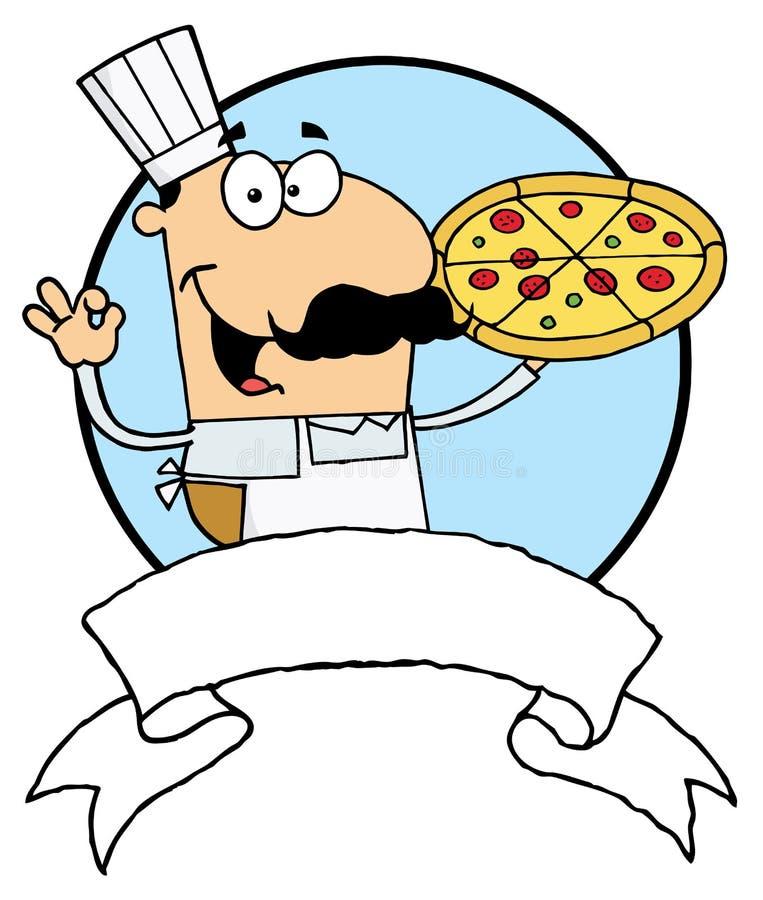 Cozinheiro chefe masculino da pizza com sua torta perfeita ilustração royalty free