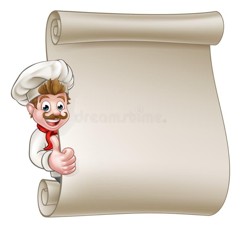 Cozinheiro chefe Menu Scroll dos desenhos animados ilustração royalty free
