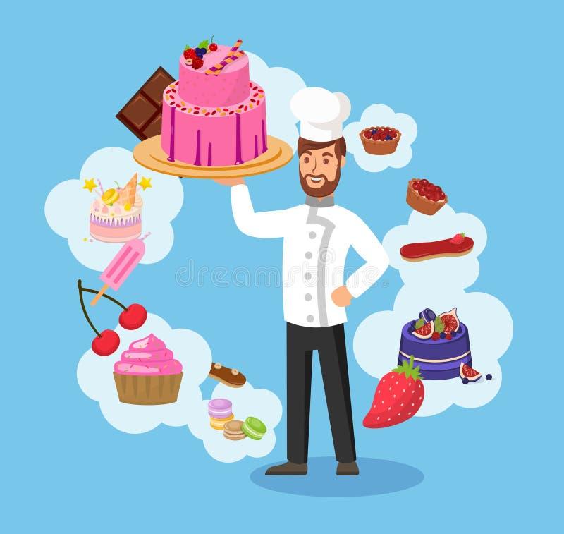 Cozinheiro chefe mestre com ilustração do vetor da cor da padaria ilustração do vetor