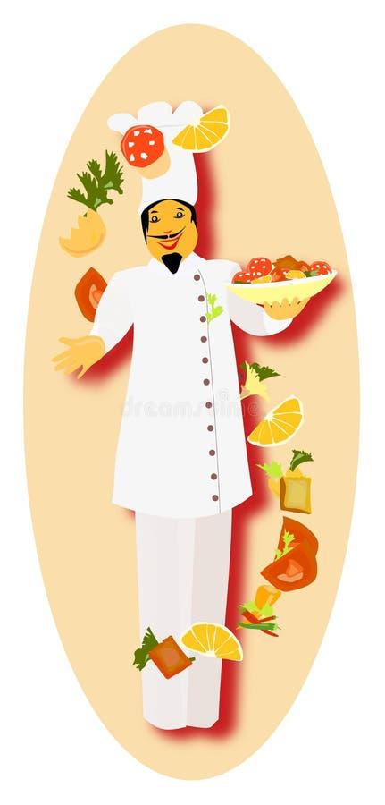 Cozinheiro chefe mestre pronto para preparar o prato especial ilustração do vetor