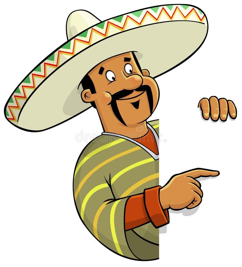 Cozinheiro chefe mexicano com um sinal em branco ilustração royalty free