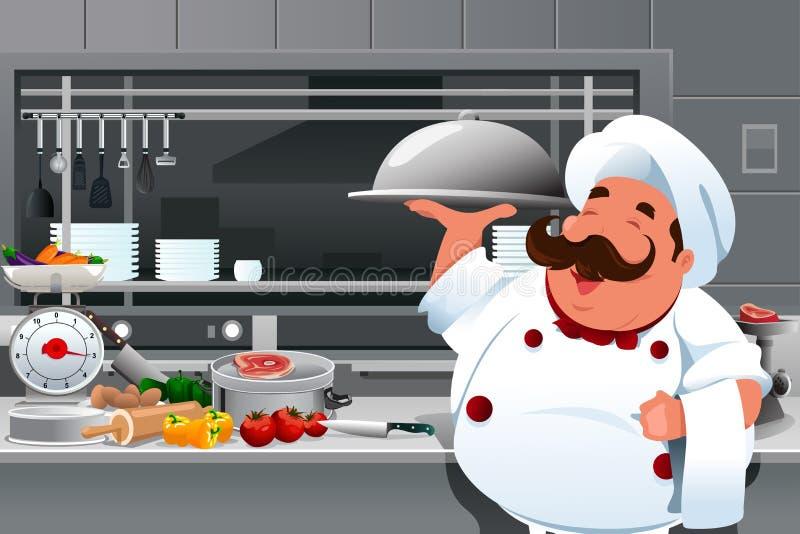Cozinheiro chefe na cozinha ilustração do vetor