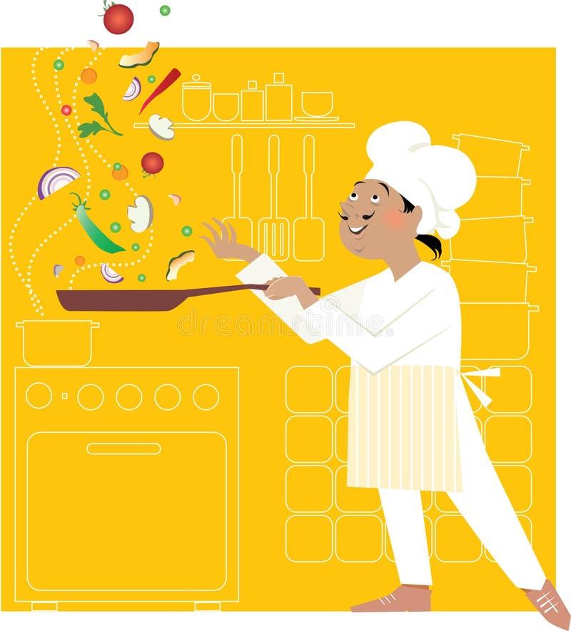 Cozinheiro chefe na cozinha ilustração royalty free