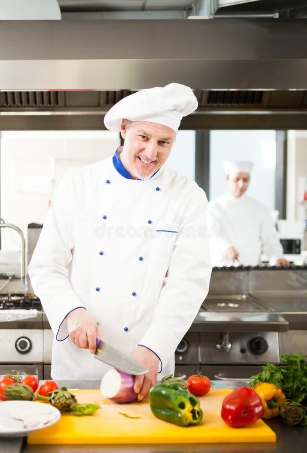 Cozinheiro chefe no trabalho foto de stock
