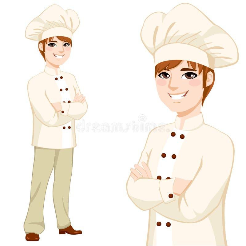 Cozinheiro chefe novo Man Standing ilustração do vetor