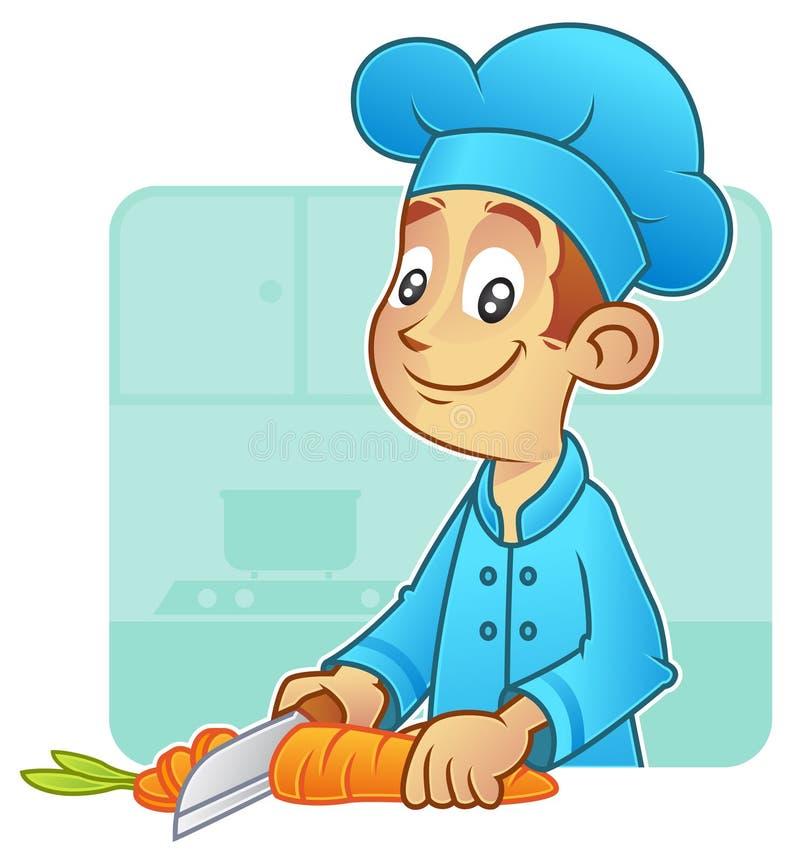 Cozinheiro chefe novo que corta uma cenoura em partes ilustração stock