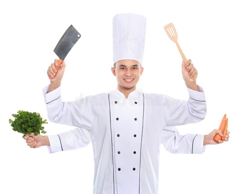 Cozinheiro chefe ocupado imagem de stock