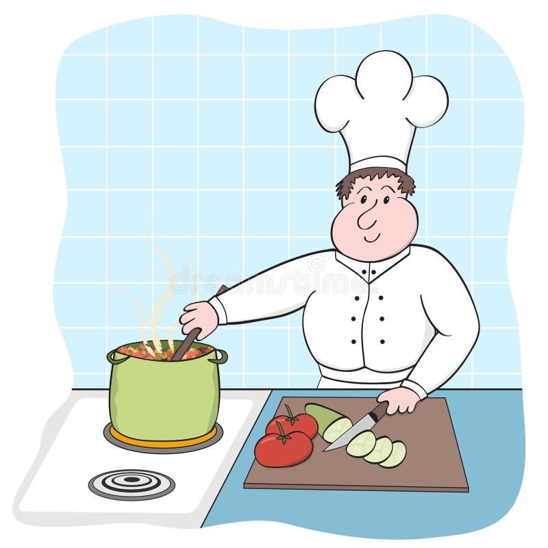 Cozinheiro chefe ocupado ilustração do vetor