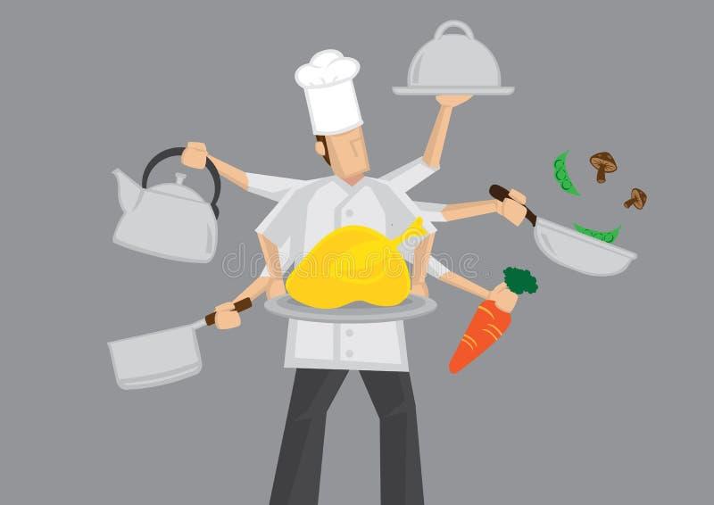 Cozinheiro chefe ocupado Cartoon Vetora Illustration ilustração royalty free