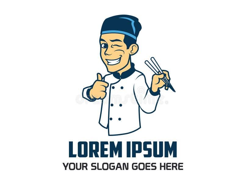Cozinheiro chefe oriental Logo ilustração royalty free