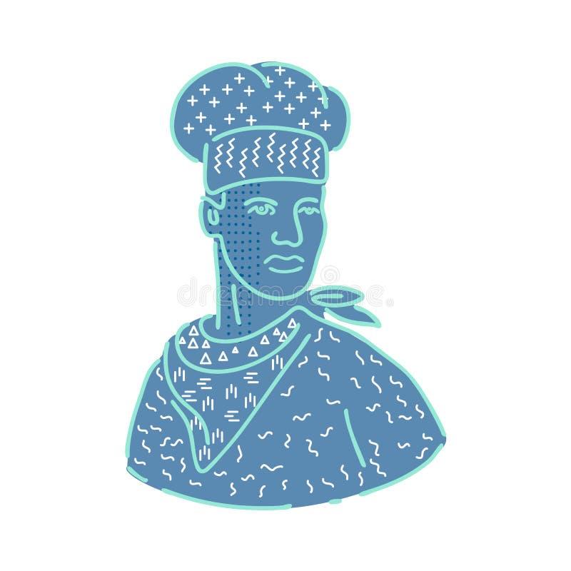 Cozinheiro chefe ou padeiro Memphis Style ilustração do vetor