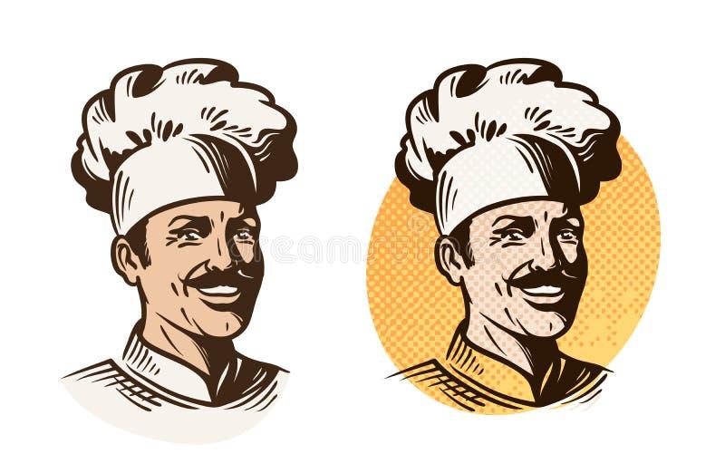 Cozinheiro chefe, padeiro, símbolo do cozinheiro Logotipo do cozimento, do restaurante ou do café Ilustração do vetor ilustração royalty free