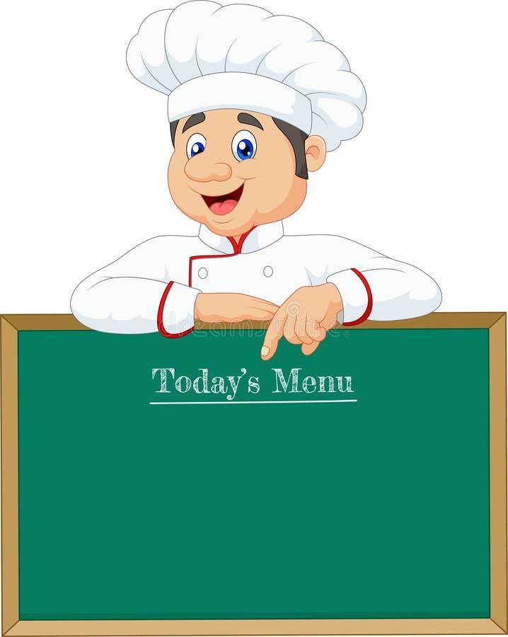 Cozinheiro chefe pequeno que aponta em uma bandeira ou em um menu ilustração do vetor