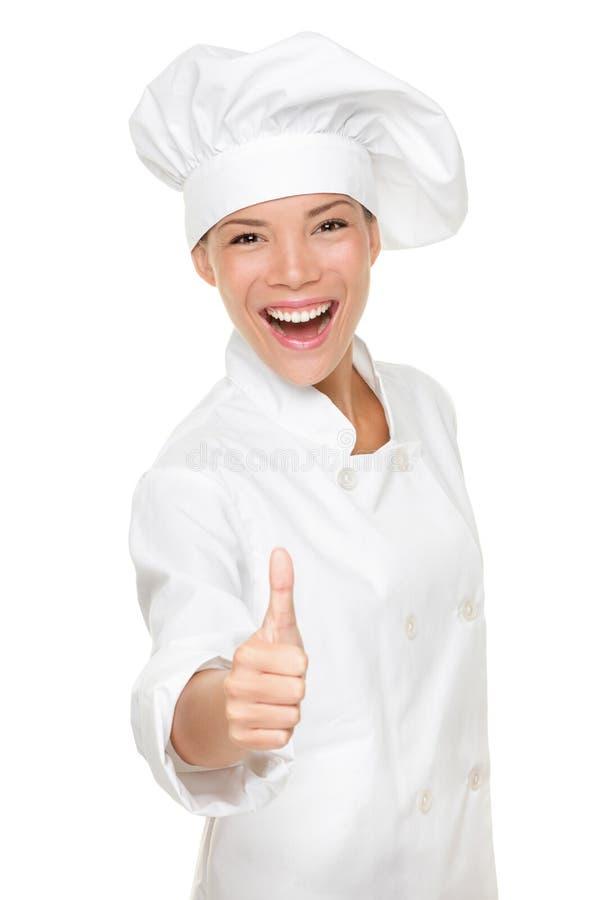 Cozinheiro chefe - polegares felizes acima imagens de stock royalty free