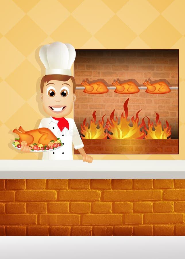 Cozinheiro chefe que cozinha a galinha ilustração do vetor