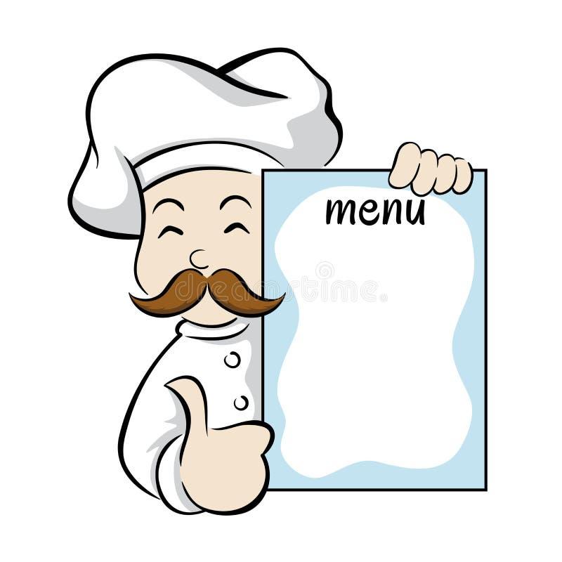 Cozinheiro chefe que guarda o sinal do menu ilustração stock