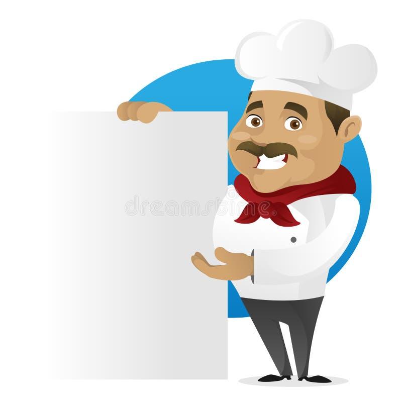 Cozinheiro chefe que guarda o sinal vazio ilustração stock