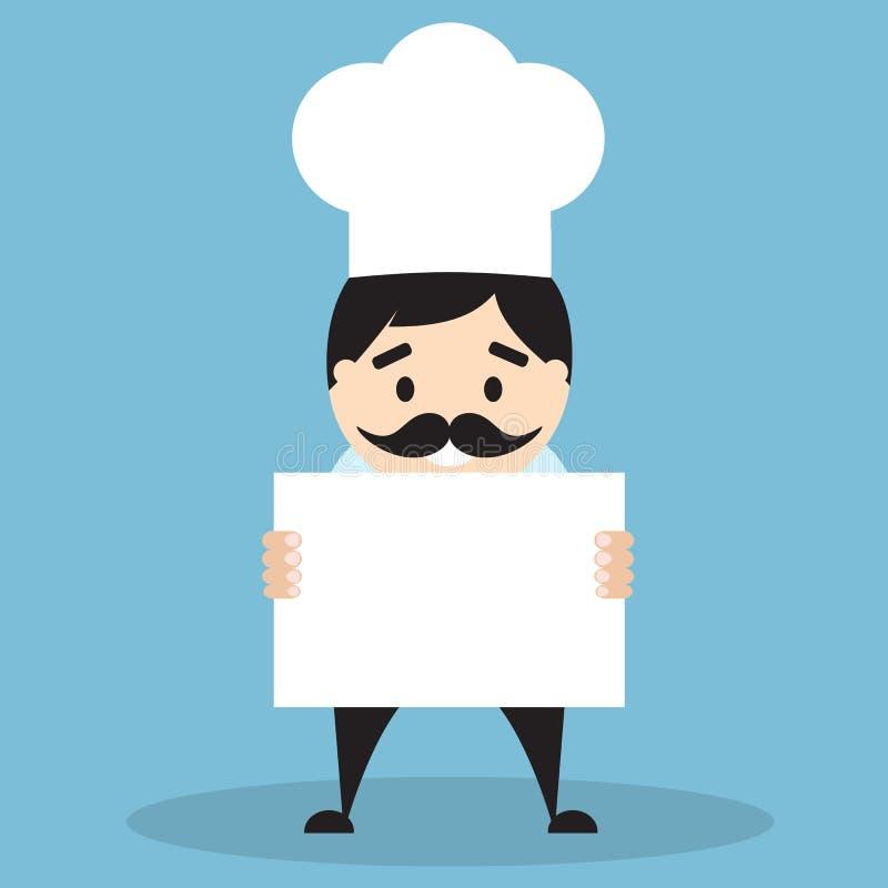 Cozinheiro chefe que guarda uma placa vazia ilustração royalty free