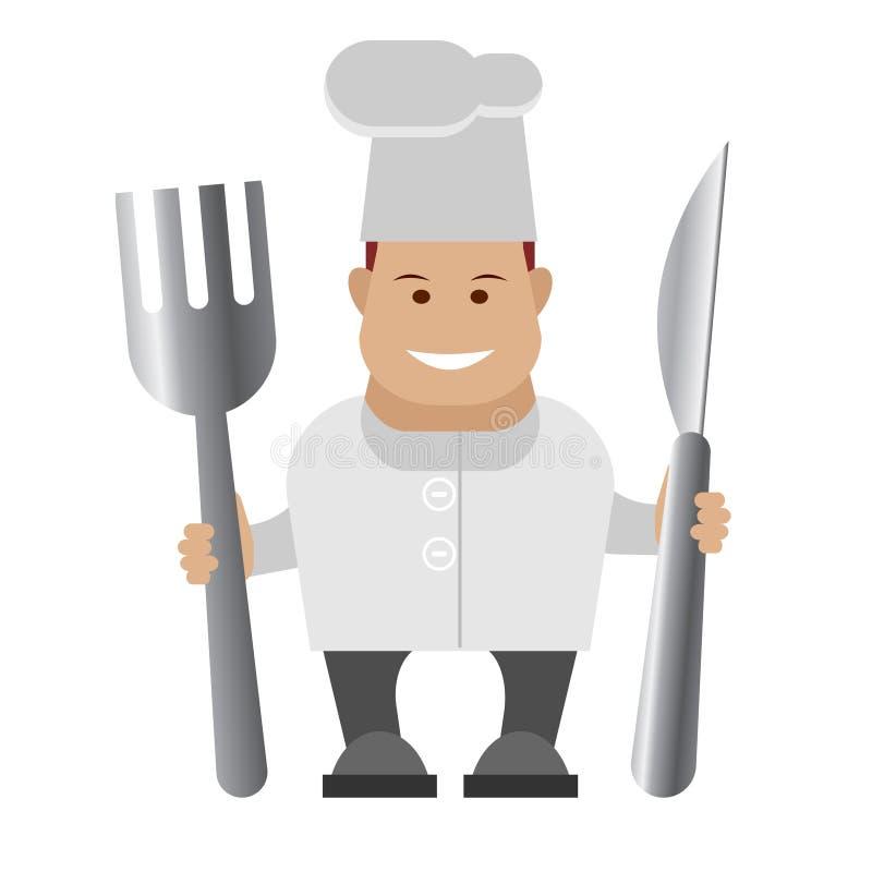 Cozinheiro chefe que guardara a cutelaria ilustração do vetor
