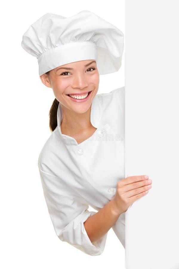 Cozinheiro chefe que mostra o sinal em branco imagens de stock royalty free