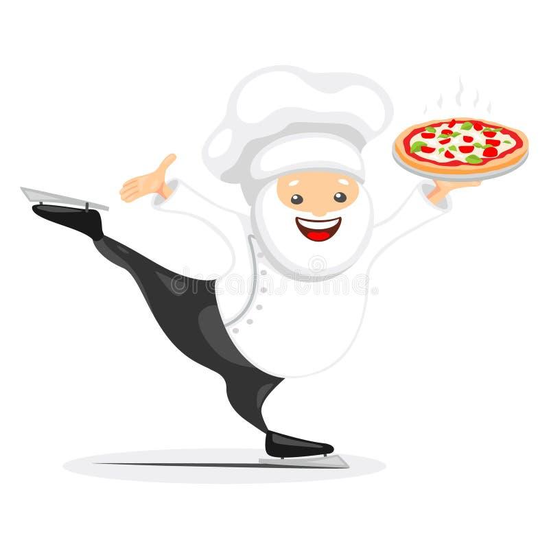 Cozinheiro chefe que serve a pizza em competir patins ilustração royalty free