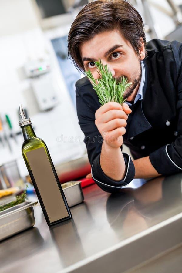 Cozinheiro chefe que verifica o frescor de um grupo das ervas fotos de stock