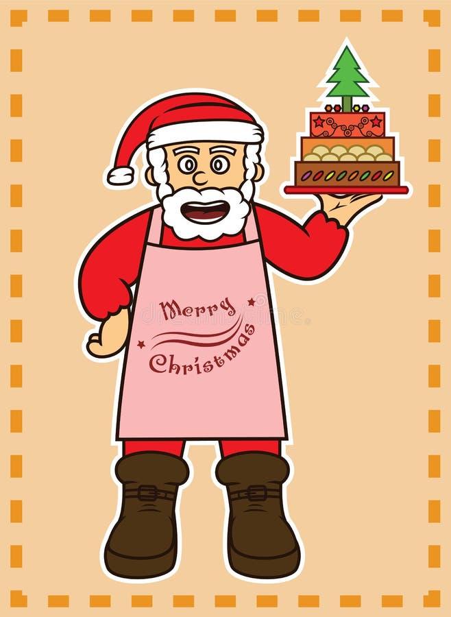 Cozinheiro chefe Santa Claus com bolo do Natal ilustração do vetor