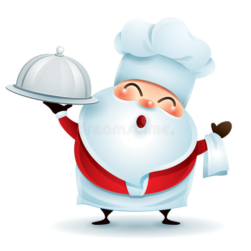 Cozinheiro chefe Santa Claus com uma bandeja do serviço ilustração royalty free