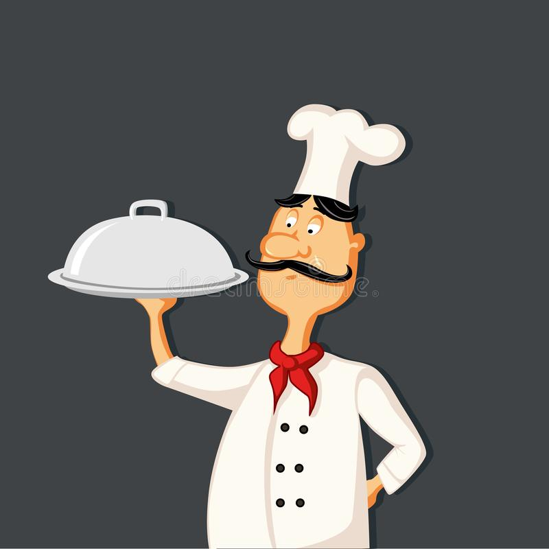 Cozinheiro chefe seguro que gesticula a ilustração aprovada do sinal ilustração stock