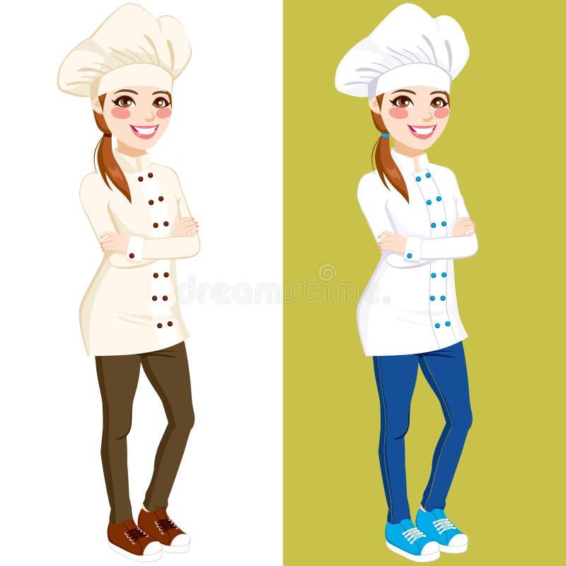 Cozinheiro chefe seguro Woman Standing ilustração stock