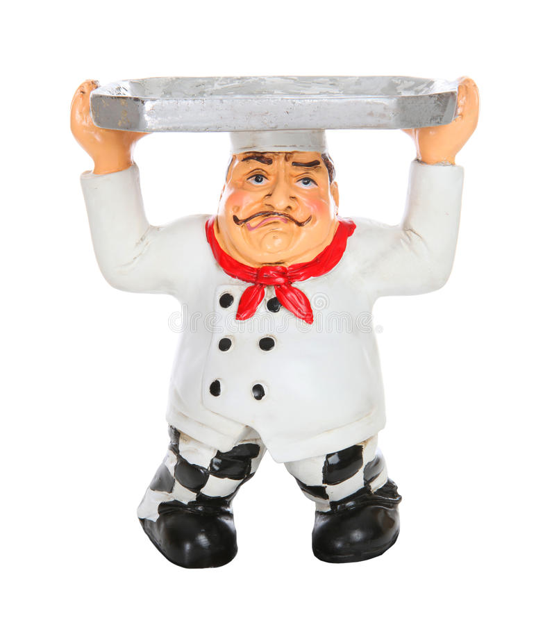 Cozinheiro chefe Tired com bandeja do serviço