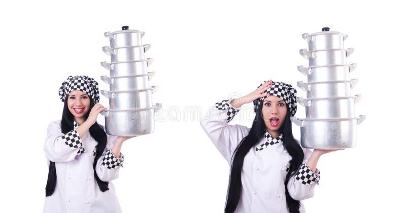 Cozinheiro com a pilha de potenci?metros no branco imagem de stock