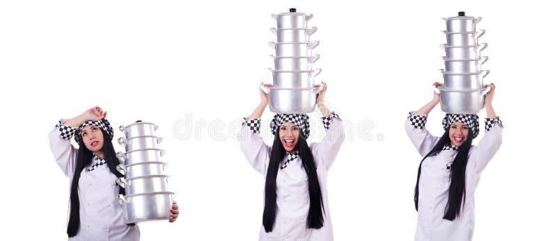 Cozinheiro com a pilha de potenci?metros no branco imagem de stock royalty free