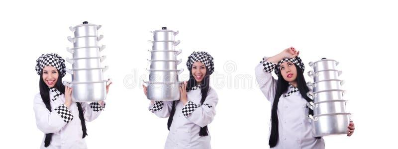 Cozinheiro com a pilha de potenci?metros no branco fotos de stock royalty free