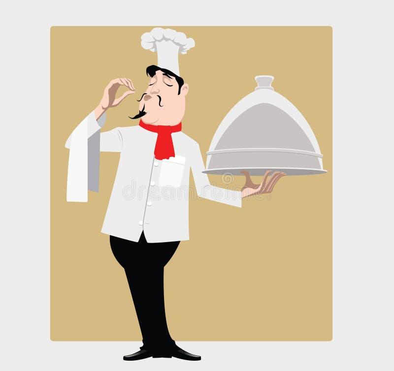 Cozinheiro com prato ilustração do vetor
