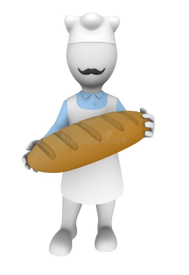 cozinheiro 3d com pão nas mãos ilustração royalty free