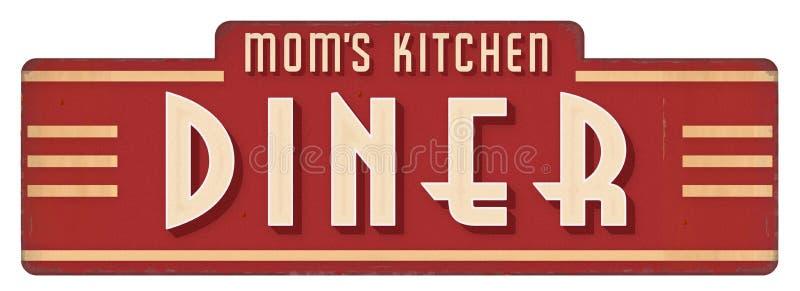 Cozinheiro da decoração do jantar da chapa do sinal da cozinha da mamã imagem de stock