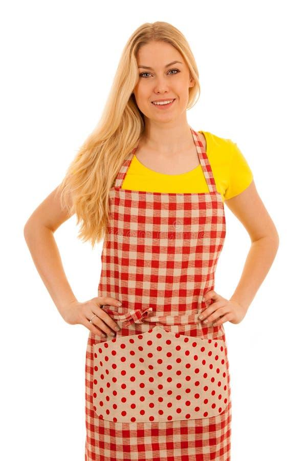 Cozinheiro da jovem mulher isolado sobre o fundo branco foto de stock