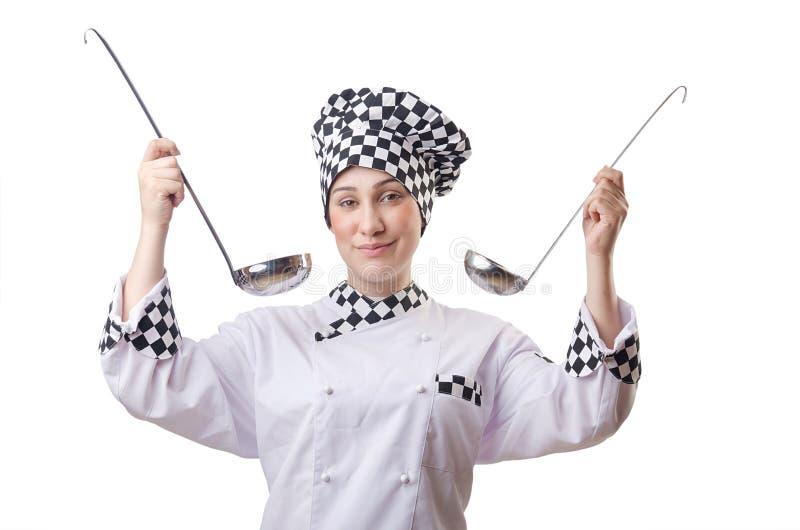 Cozinheiro da mulher com concha fotografia de stock