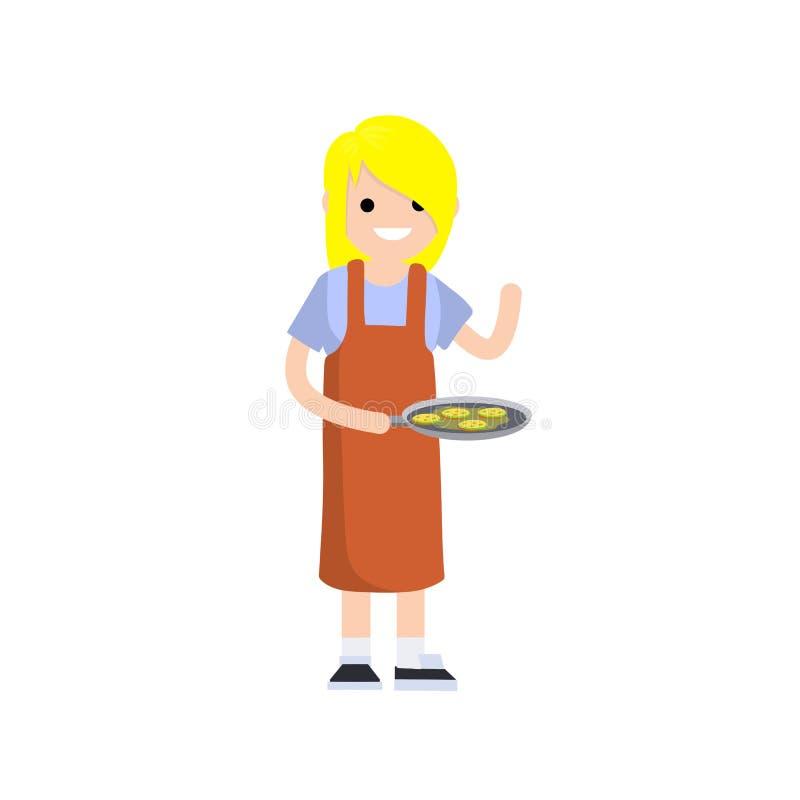Cozinheiro da mulher em um avental vermelho Ilustração lisa dos desenhos animados ilustração royalty free